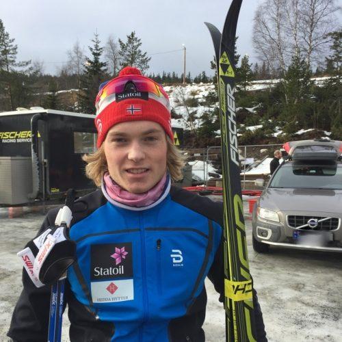 Vebjørn Hegdal fra Larvik ski etter norges cup seieren på 15 km. klassisk på Voss 19. februar 2017