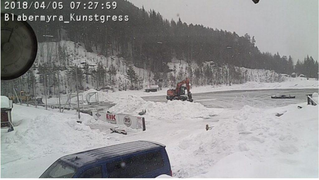 Snøfjerning måking måke Blåbærmyra Valdres FK foto. webcamera