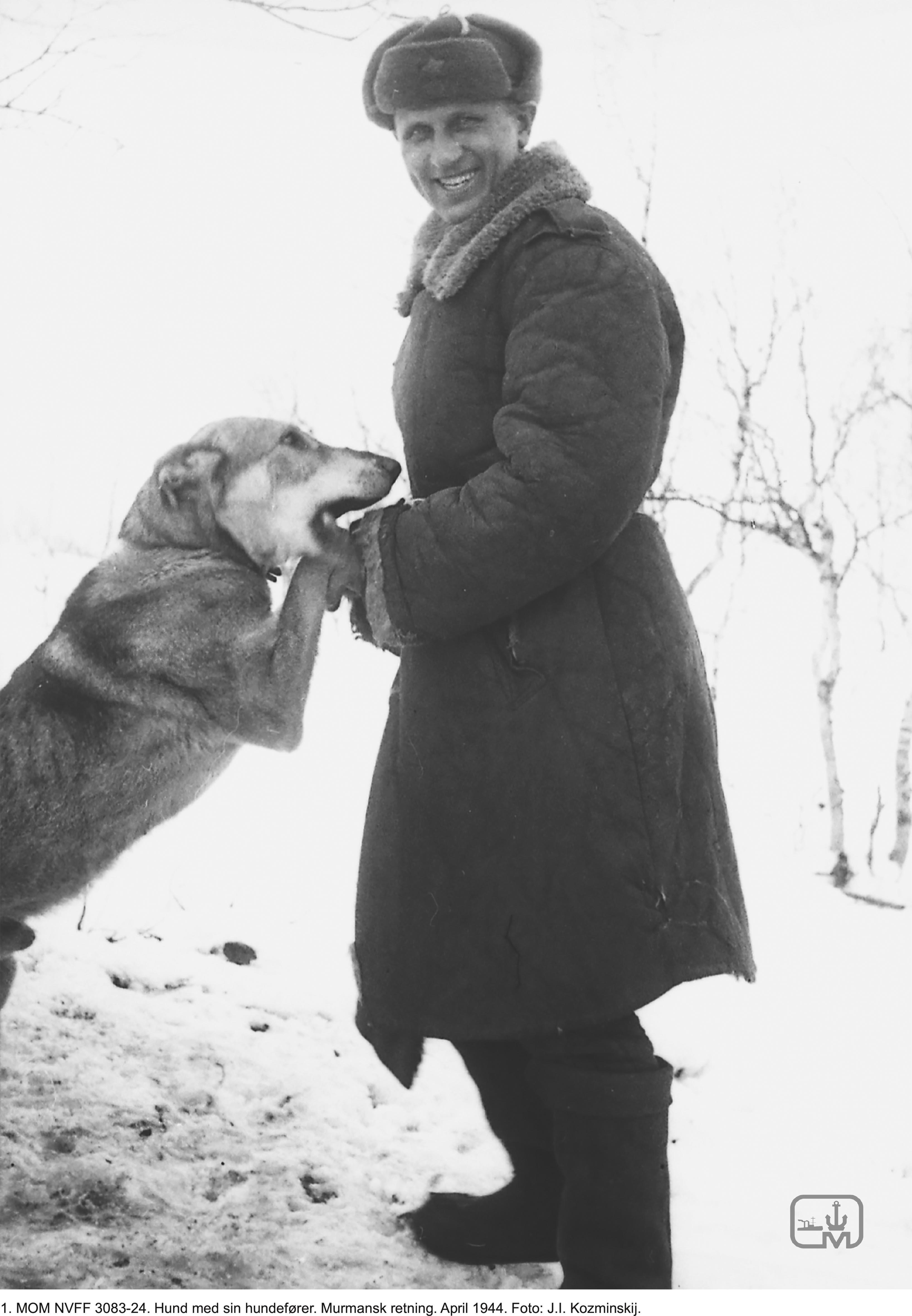 Pressebilde1-МОМ-NVFF-3083-24.-Hund-med-sin-hundefører.-Murmansk-retning.-April-1944.-Foto-J.I.-Kozminskij-1.jpg